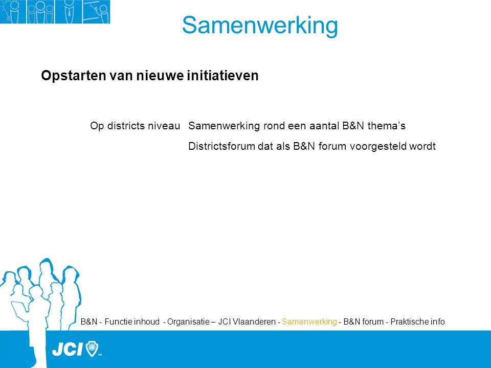 Samenwerking Opstarten van nieuwe initiatieven Op districts niveauSamenwerking rond een aantal B&N thema's Districtsforum dat als B&N forum voorgesteld wordt B&N - Functie inhoud - Organisatie – JCI Vlaanderen - Samenwerking - B&N forum - Praktische info