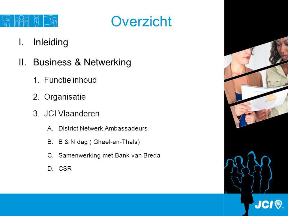 Overzicht I.Inleiding II.Business & Netwerking 1.Functie inhoud 2.Organisatie 3.JCI Vlaanderen A.District Netwerk Ambassadeurs B.B & N dag ( Gheel-en-Thals) C.Samenwerking met Bank van Breda D.CSR