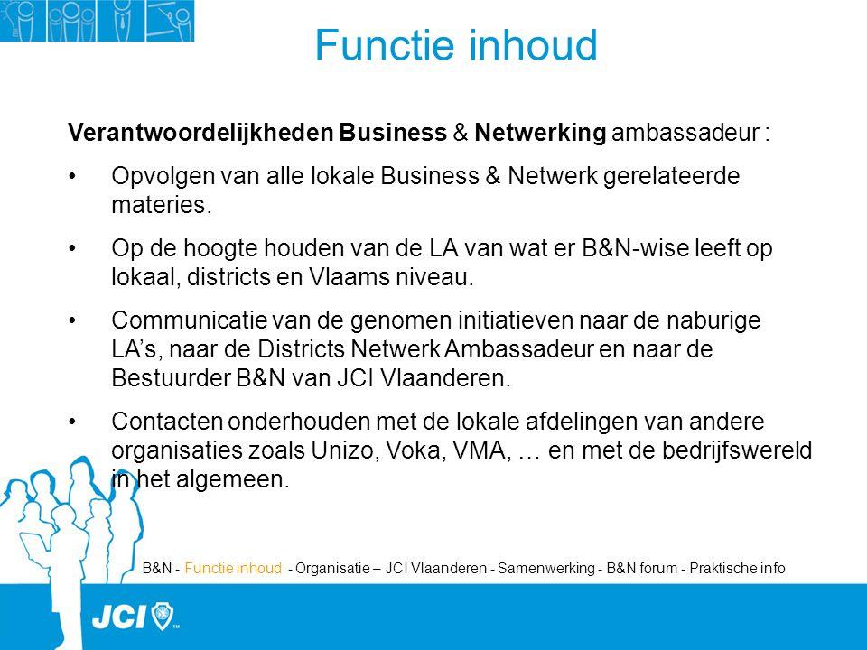Verantwoordelijkheden Business & Netwerking ambassadeur : Opvolgen van alle lokale Business & Netwerk gerelateerde materies.