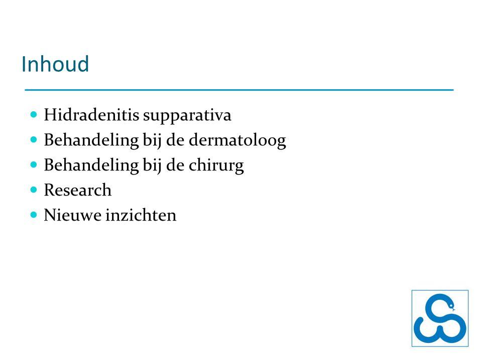 Inhoud Hidradenitis supparativa Behandeling bij de dermatoloog Behandeling bij de chirurg Research Nieuwe inzichten