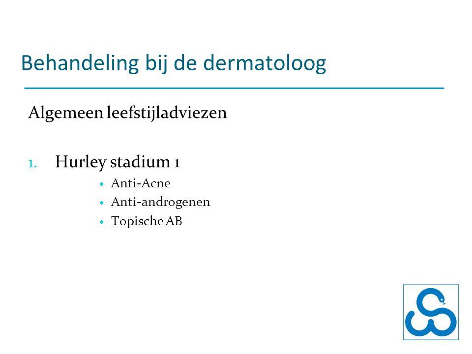 Behandeling bij de dermatoloog Algemeen leefstijladviezen 1. Hurley stadium 1 Anti-Acne Anti-androgenen Topische AB
