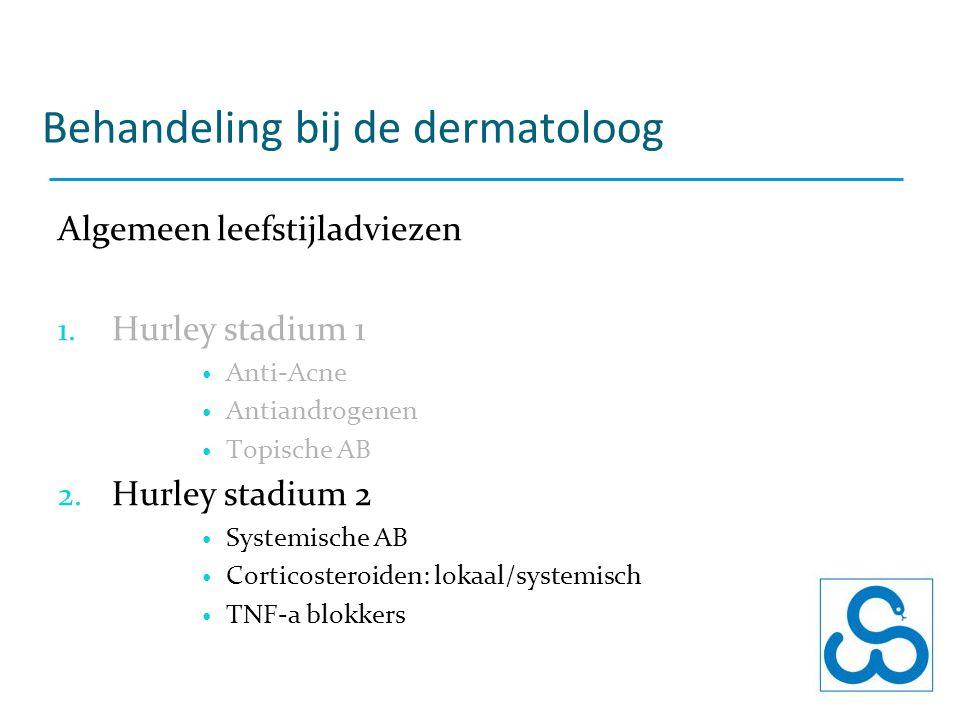 Behandeling bij de dermatoloog Algemeen leefstijladviezen 1. Hurley stadium 1 Anti-Acne Antiandrogenen Topische AB 2. Hurley stadium 2 Systemische AB