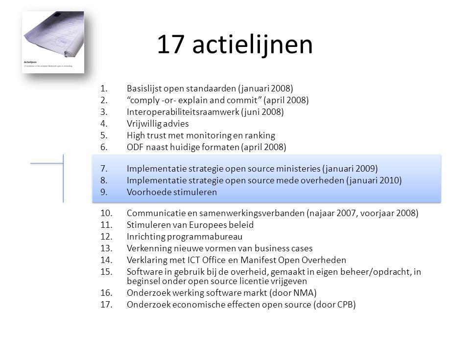 """17 actielijnen 1.Basislijst open standaarden (januari 2008) 2.""""comply -or- explain and commit"""" (april 2008) 3.Interoperabiliteitsraamwerk (juni 2008)"""