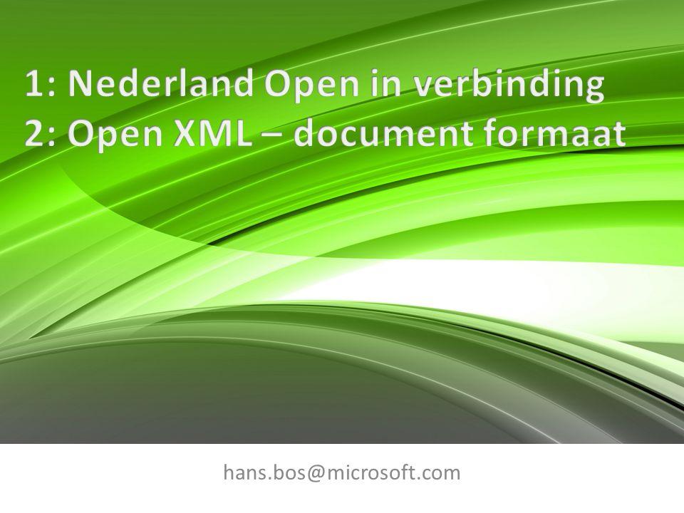 Open: is niet hetzelfde als 'weggooien wat werkt' Bestaande en werkende interoperabiliteit niet vergeten.