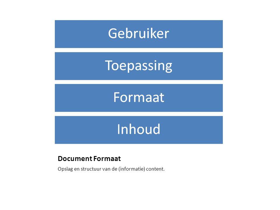 Document Formaat Opslag en structuur van de (informatie) content.