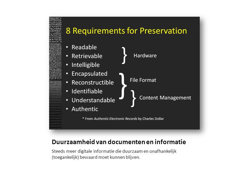 Duurzaamheid van documenten en informatie Steeds meer digitale informatie die duurzaam en onafhankelijk (toegankelijk) bewaard moet kunnen blijven.
