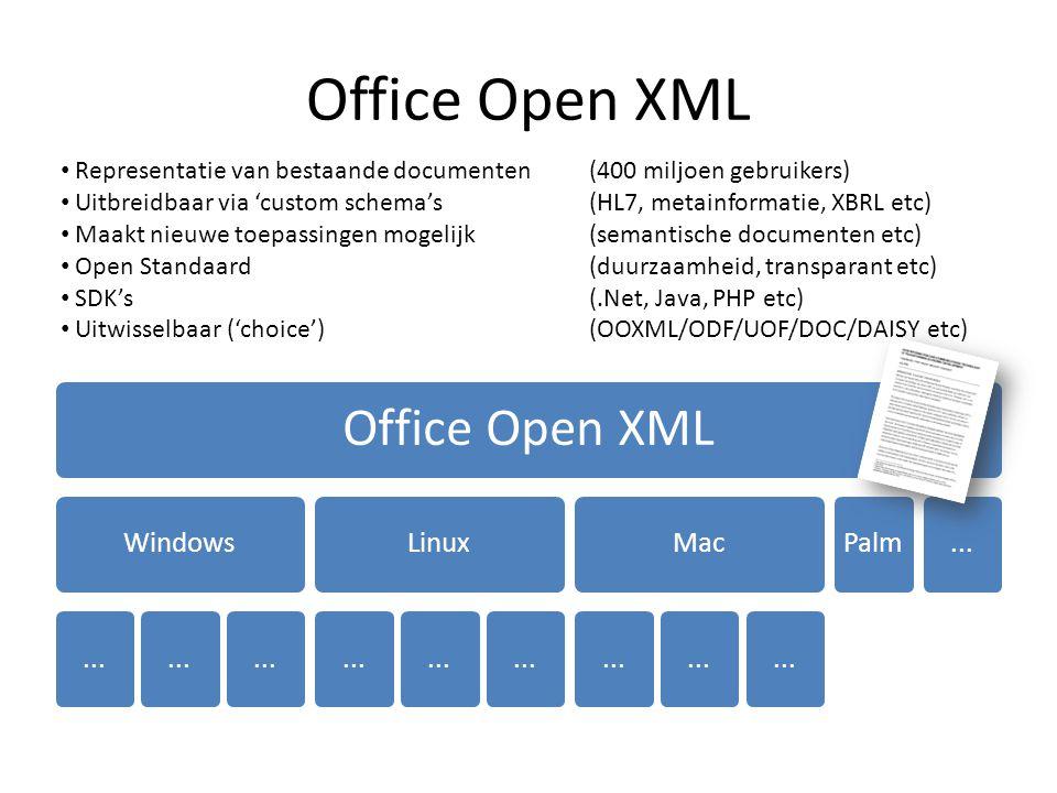 Office Open XML Windows... Linux... Mac... Palm... Representatie van bestaande documenten (400 miljoen gebruikers) Uitbreidbaar via 'custom schema's (