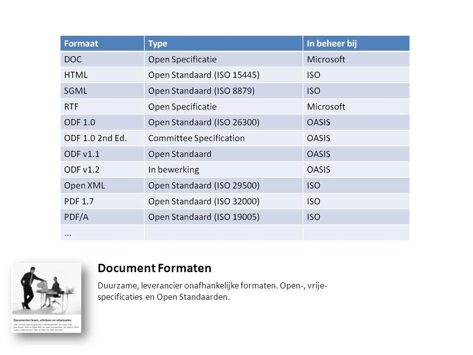 Document Formaten Duurzame, leverancier onafhankelijke formaten. Open-, vrije- specificaties en Open Standaarden.