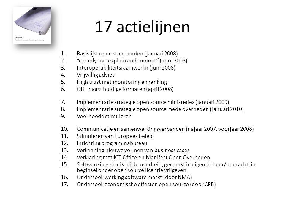 17 actielijnen 1.Basislijst open standaarden (januari 2008) 2. comply -or- explain and commit (april 2008) 3.Interoperabiliteitsraamwerk (juni 2008) 4.Vrijwillig advies 5.High trust met monitoring en ranking 6.ODF naast huidige formaten (april 2008) 7.Implementatie strategie open source ministeries (januari 2009) 8.Implementatie strategie open source mede overheden (januari 2010) 9.Voorhoede stimuleren 10.Communicatie en samenwerkingsverbanden (najaar 2007, voorjaar 2008) 11.Stimuleren van Europees beleid 12.Inrichting programmabureau 13.Verkenning nieuwe vormen van business cases 14.Verklaring met ICT Office en Manifest Open Overheden 15.Software in gebruik bij de overheid, gemaakt in eigen beheer/opdracht, in beginsel onder open source licentie vrijgeven 16.Onderzoek werking software markt (door NMA) 17.Onderzoek economische effecten open source (door CPB)