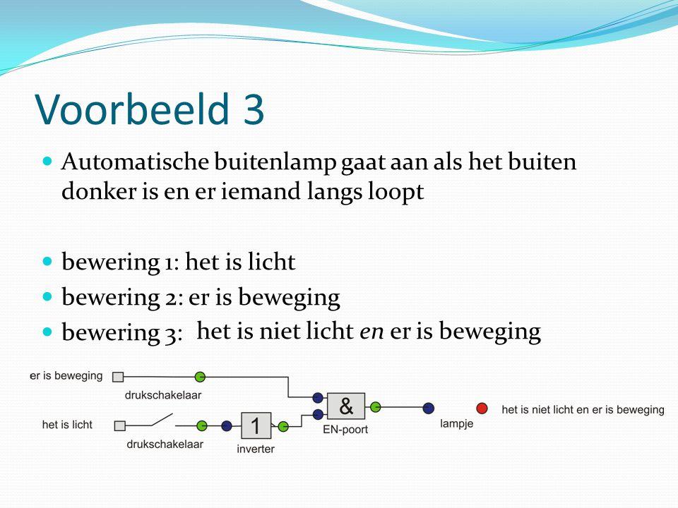 Voorbeeld 3 Automatische buitenlamp gaat aan als het buiten donker is en er iemand langs loopt bewering 1: het is licht bewering 2: er is beweging bewering 3: het is niet licht en er is beweging