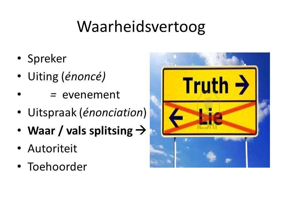 Waarheidsvertoog Spreker Uiting (énoncé) = evenement Uitspraak (énonciation) Waar / vals splitsing  Autoriteit Toehoorder