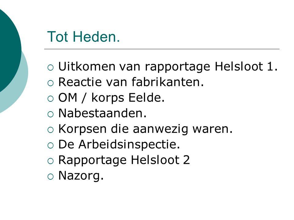 Tot Heden.  Uitkomen van rapportage Helsloot 1.  Reactie van fabrikanten.