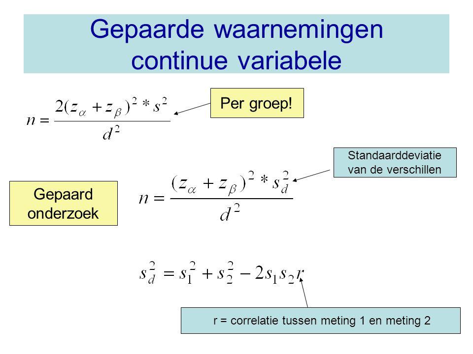 Gepaarde waarnemingen continue variabele Standaarddeviatie van de verschillen r = correlatie tussen meting 1 en meting 2 Per groep.