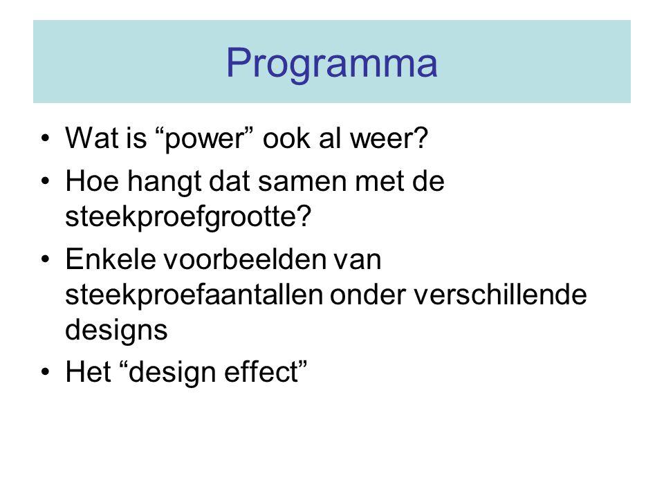 Het design effect Als we van een parameter (bijvoorbeeld δ, een verschil tussen gemiddelden) willen toetsen of deze gelijk is aan 0, maken we gebruik van de grootheid Het design effect (deff) van een design is: