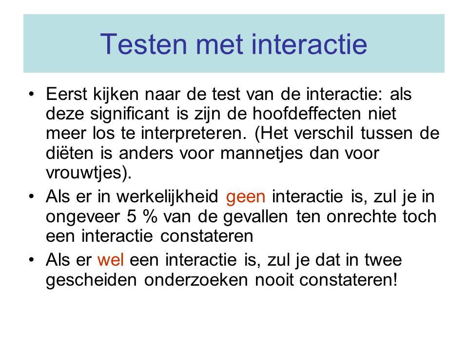 Testen met interactie Eerst kijken naar de test van de interactie: als deze significant is zijn de hoofdeffecten niet meer los te interpreteren.