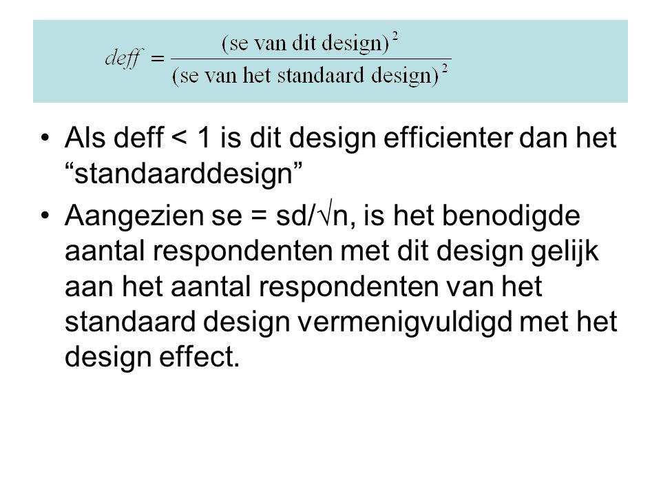 Als deff < 1 is dit design efficienter dan het standaarddesign Aangezien se = sd/√n, is het benodigde aantal respondenten met dit design gelijk aan het aantal respondenten van het standaard design vermenigvuldigd met het design effect.