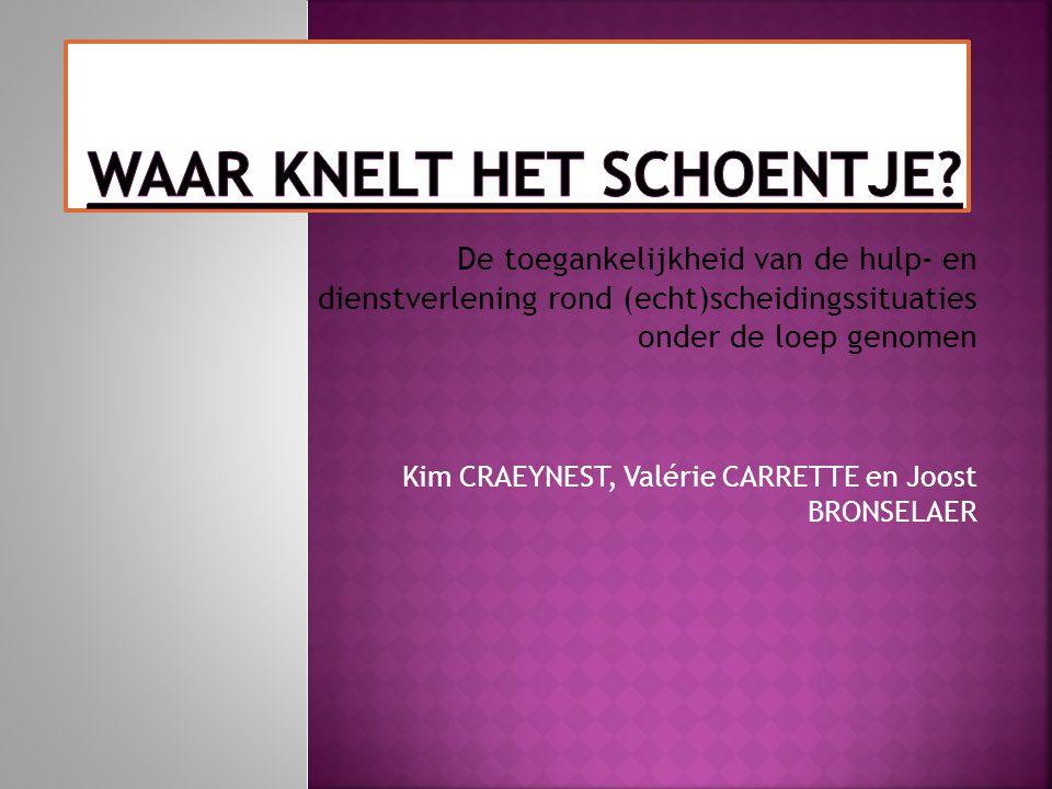 De toegankelijkheid van de hulp- en dienstverlening rond (echt)scheidingssituaties onder de loep genomen Kim CRAEYNEST, Valérie CARRETTE en Joost BRON