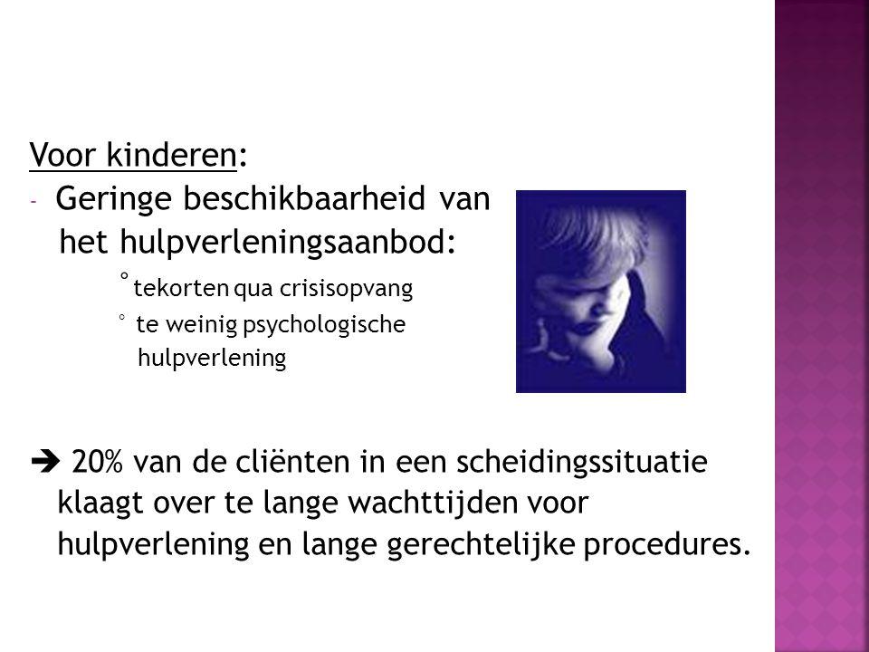 Voor kinderen: - Geringe beschikbaarheid van het hulpverleningsaanbod: ° tekorten qua crisisopvang ° te weinig psychologische hulpverlening  20% van