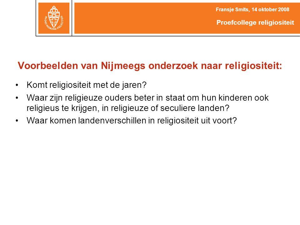Voorbeelden van Nijmeegs onderzoek naar religiositeit: Komt religiositeit met de jaren.