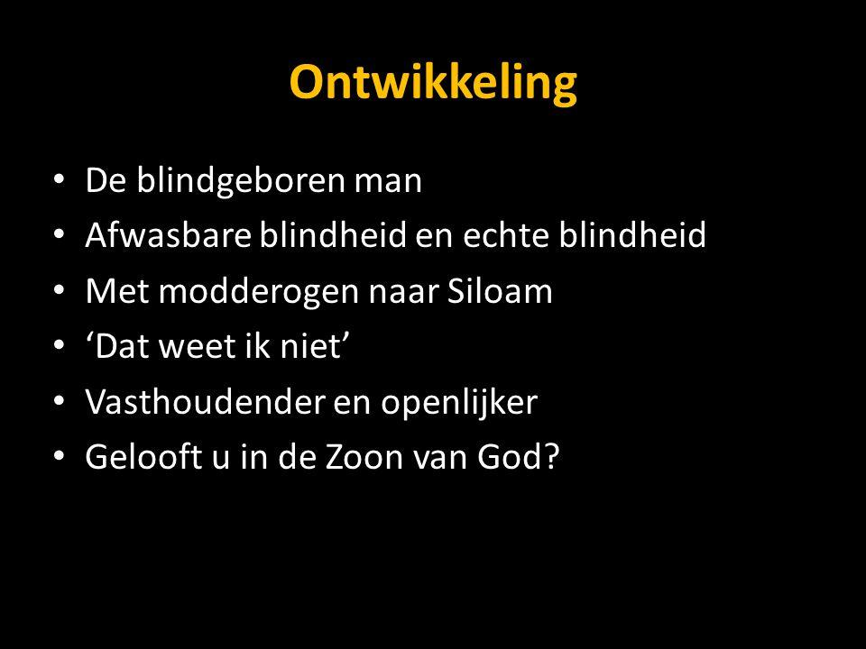 Ontwikkeling De blindgeboren man Afwasbare blindheid en echte blindheid Met modderogen naar Siloam 'Dat weet ik niet' Vasthoudender en openlijker Gelo