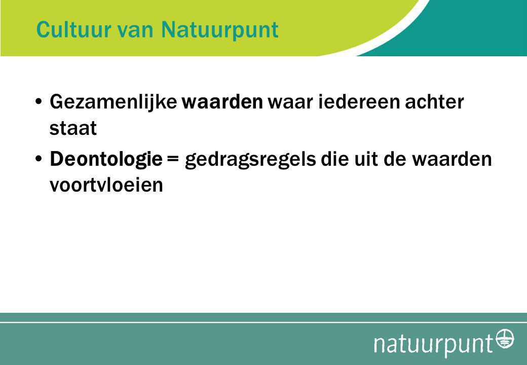 Cultuur van Natuurpunt Gezamenlijke waarden waar iedereen achter staat Deontologie = gedragsregels die uit de waarden voortvloeien