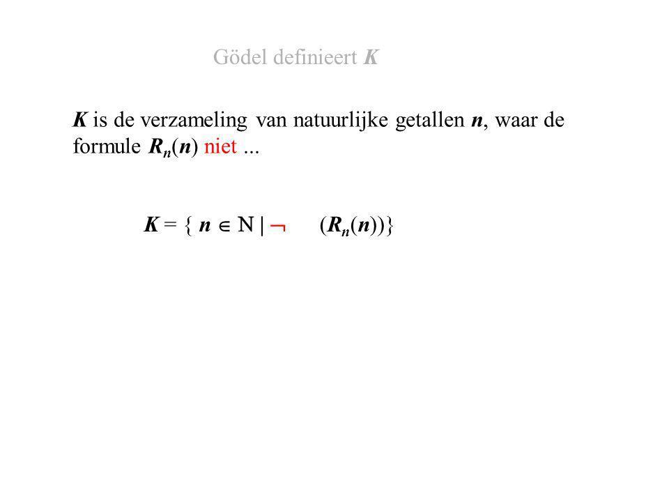 K = { n   |  (R n (n))} K is de verzameling van natuurlijke getallen n, waar de formule R n (n) niet...