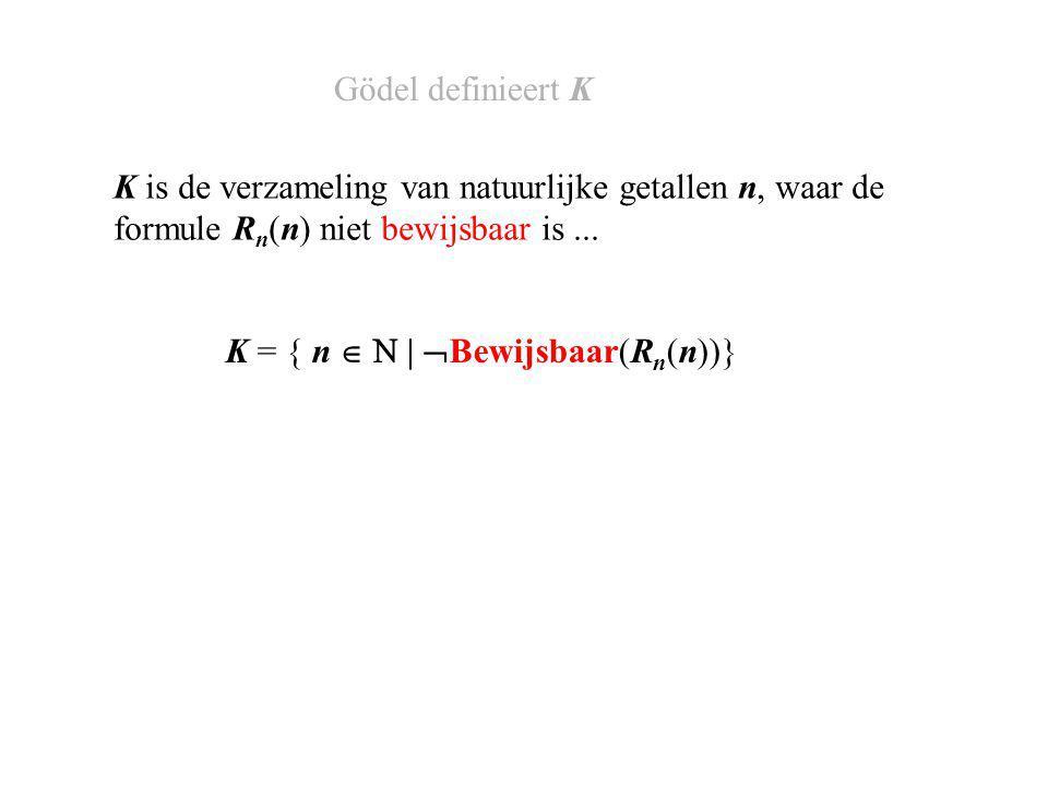 K = { n   |  Bewijsbaar(R n (n))} K is de verzameling van natuurlijke getallen n, waar de formule R n (n) niet bewijsbaar is...