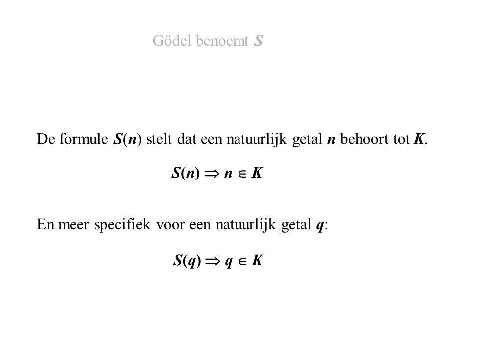 De formule S(n) stelt dat een natuurlijk getal n behoort tot K.