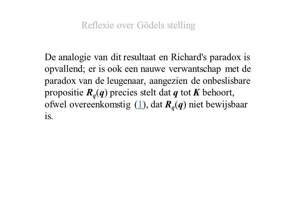 De analogie van dit resultaat en Richard s paradox is opvallend; er is ook een nauwe verwantschap met de paradox van de leugenaar, aangezien de onbeslisbare propositie R q (q) precies stelt dat q tot K behoort, ofwel overeenkomstig (1), dat R q (q) niet bewijsbaar is.1 Reflexie over Gödels stelling