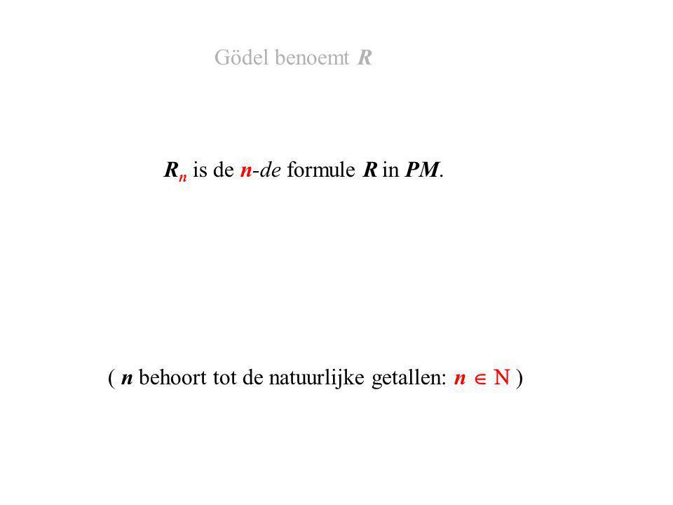 R n is de n-de formule R in PM. Gödel benoemt R ( n behoort tot de natuurlijke getallen: n   )