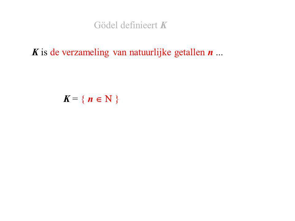 K = { n     } K is de verzameling van natuurlijke getallen n, waar... Gödel definieert K