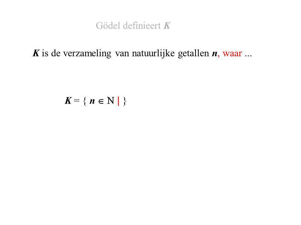 K = { n   | } K is de verzameling van natuurlijke getallen n, waar... Gödel definieert K