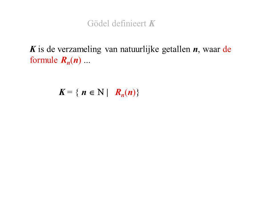 K = { n      (R n (n))} K is de verzameling van natuurlijke getallen n, waar de formule R n (n) niet...