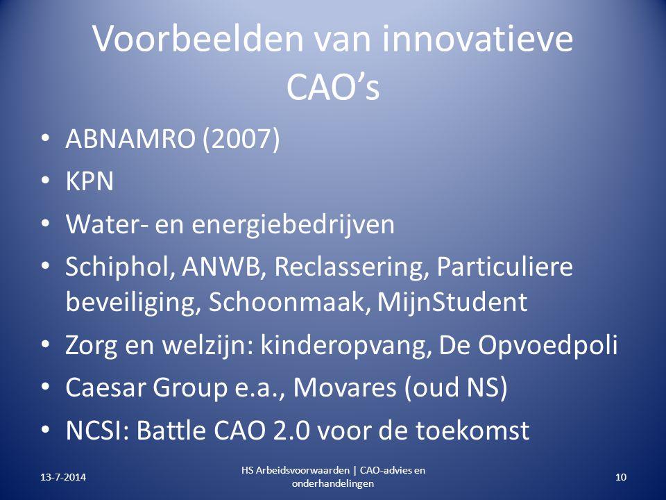 Voorbeelden van innovatieve CAO's ABNAMRO (2007) KPN Water- en energiebedrijven Schiphol, ANWB, Reclassering, Particuliere beveiliging, Schoonmaak, Mi
