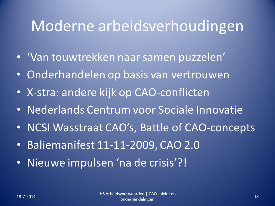 Moderne arbeidsverhoudingen 'Van touwtrekken naar samen puzzelen' Onderhandelen op basis van vertrouwen X-stra: andere kijk op CAO-conflicten Nederlan