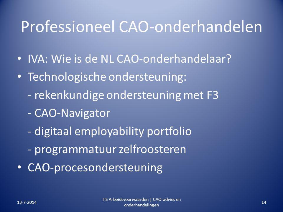 Professioneel CAO-onderhandelen IVA: Wie is de NL CAO-onderhandelaar? Technologische ondersteuning: - rekenkundige ondersteuning met F3 - CAO-Navigato