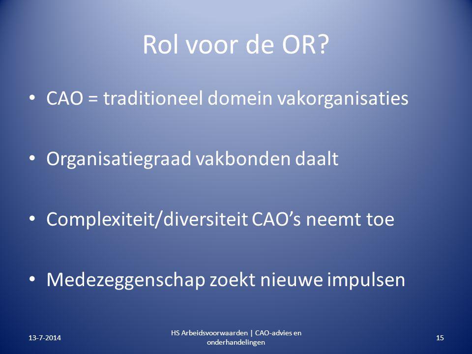 Rol voor de OR? CAO = traditioneel domein vakorganisaties Organisatiegraad vakbonden daalt Complexiteit/diversiteit CAO's neemt toe Medezeggenschap zo