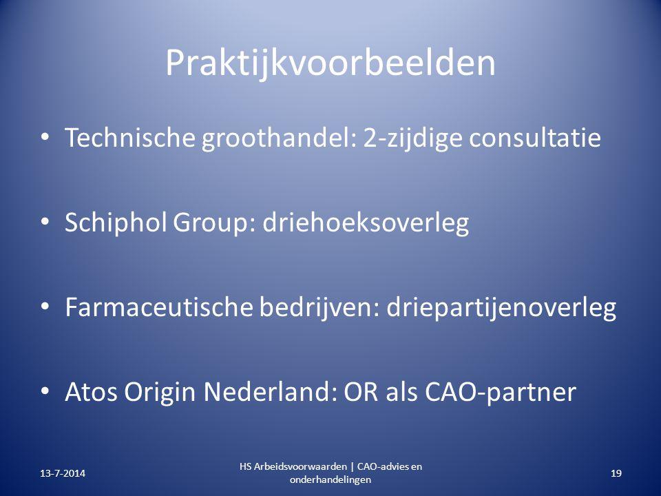 Praktijkvoorbeelden Technische groothandel: 2-zijdige consultatie Schiphol Group: driehoeksoverleg Farmaceutische bedrijven: driepartijenoverleg Atos