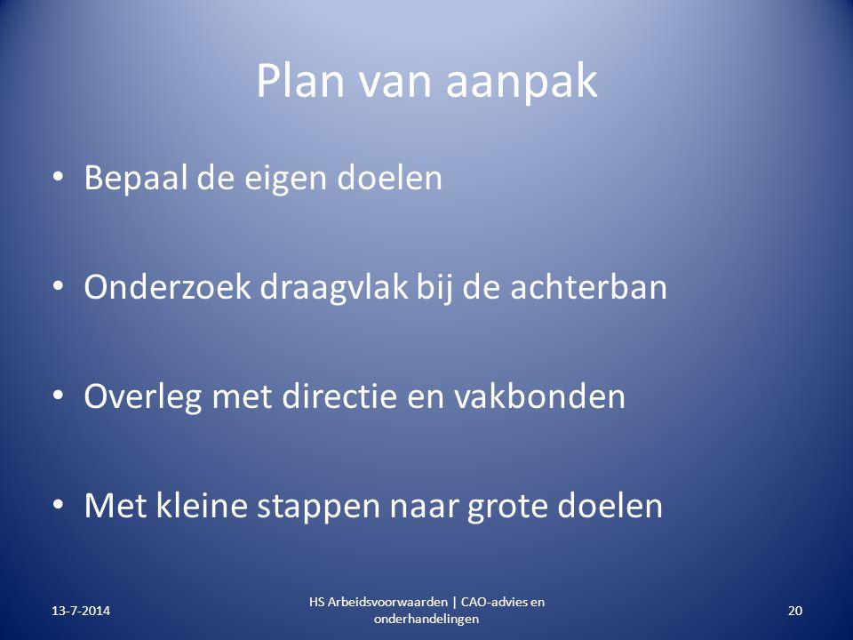 Plan van aanpak Bepaal de eigen doelen Onderzoek draagvlak bij de achterban Overleg met directie en vakbonden Met kleine stappen naar grote doelen 13-