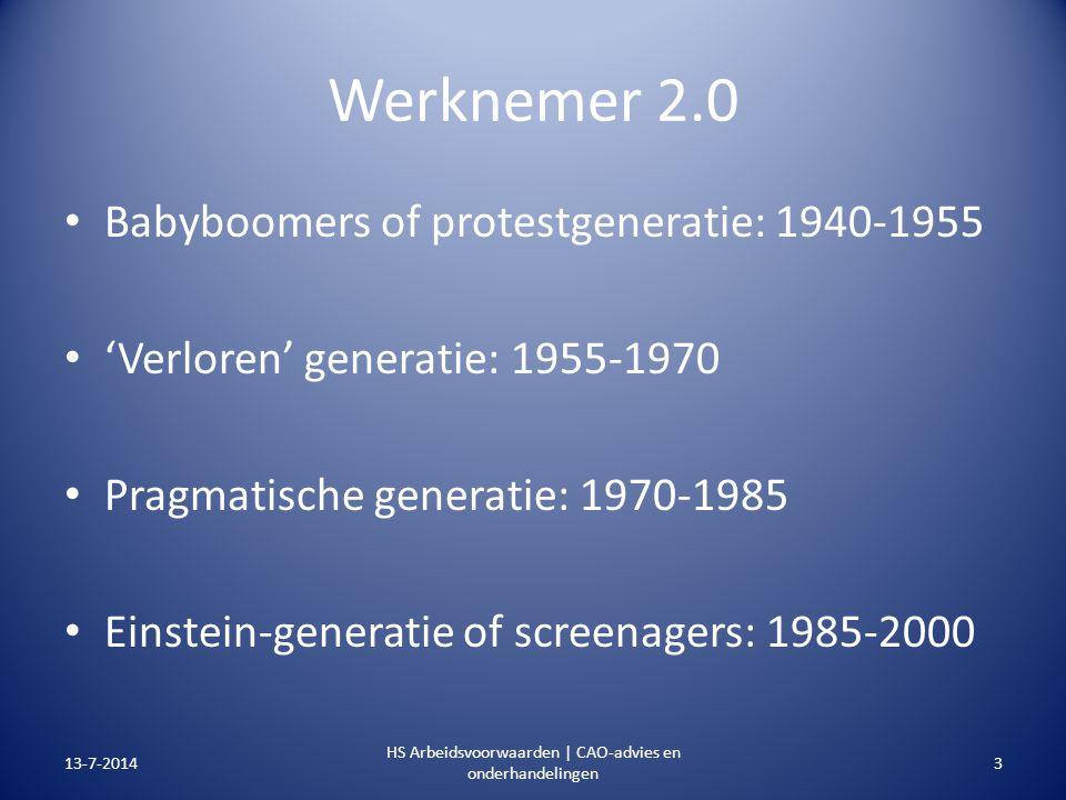 Werknemer 2.0 Babyboomers of protestgeneratie: 1940-1955 'Verloren' generatie: 1955-1970 Pragmatische generatie: 1970-1985 Einstein-generatie of scree
