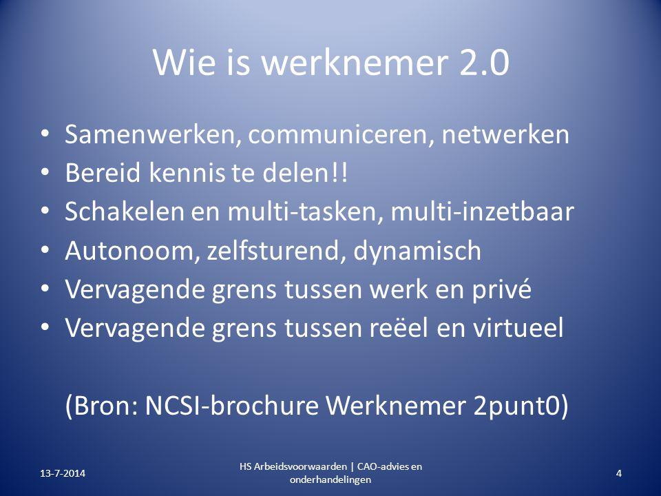 Wie is werknemer 2.0 Samenwerken, communiceren, netwerken Bereid kennis te delen!! Schakelen en multi-tasken, multi-inzetbaar Autonoom, zelfsturend, d