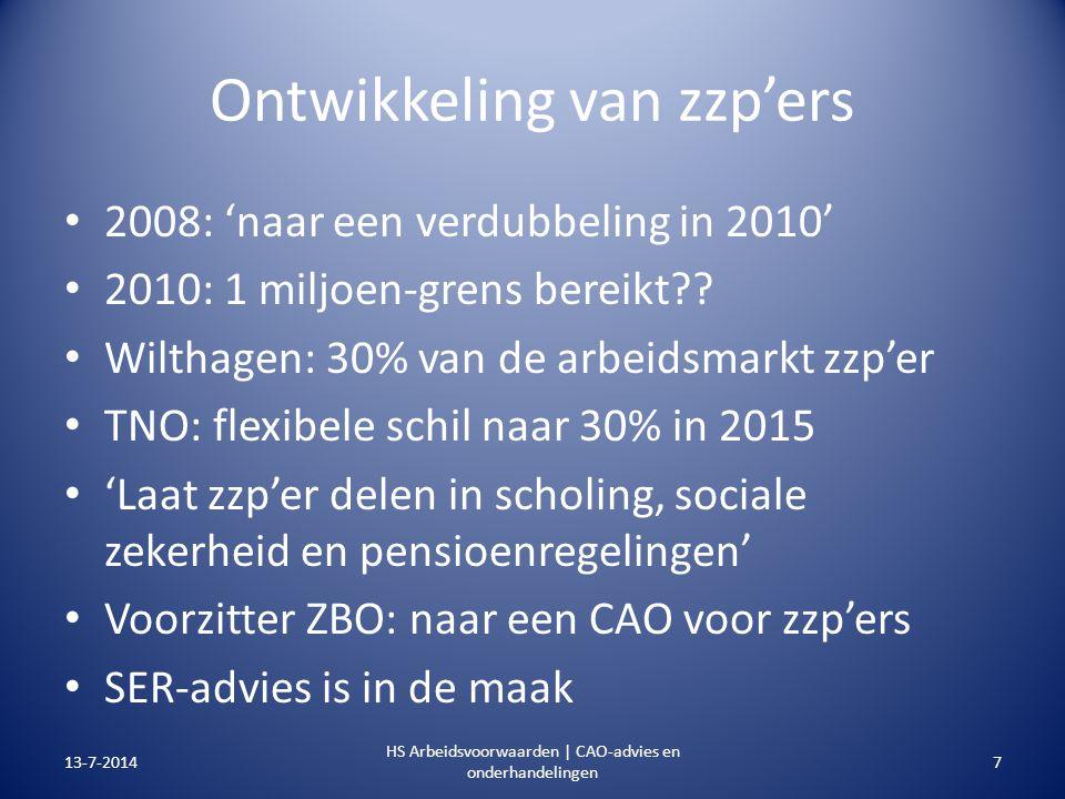 Ontwikkeling van zzp'ers 2008: 'naar een verdubbeling in 2010' 2010: 1 miljoen-grens bereikt?? Wilthagen: 30% van de arbeidsmarkt zzp'er TNO: flexibel