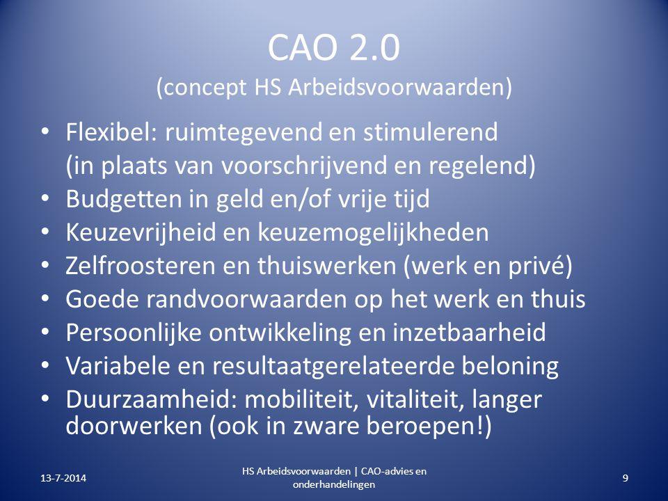 CAO 2.0 (concept HS Arbeidsvoorwaarden) Flexibel: ruimtegevend en stimulerend (in plaats van voorschrijvend en regelend) Budgetten in geld en/of vrije