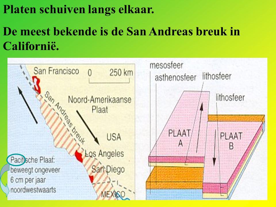 Platen schuiven langs elkaar. De meest bekende is de San Andreas breuk in Californië.