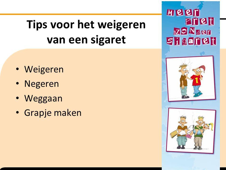 Tips voor het weigeren van een sigaret Weigeren Negeren Weggaan Grapje maken