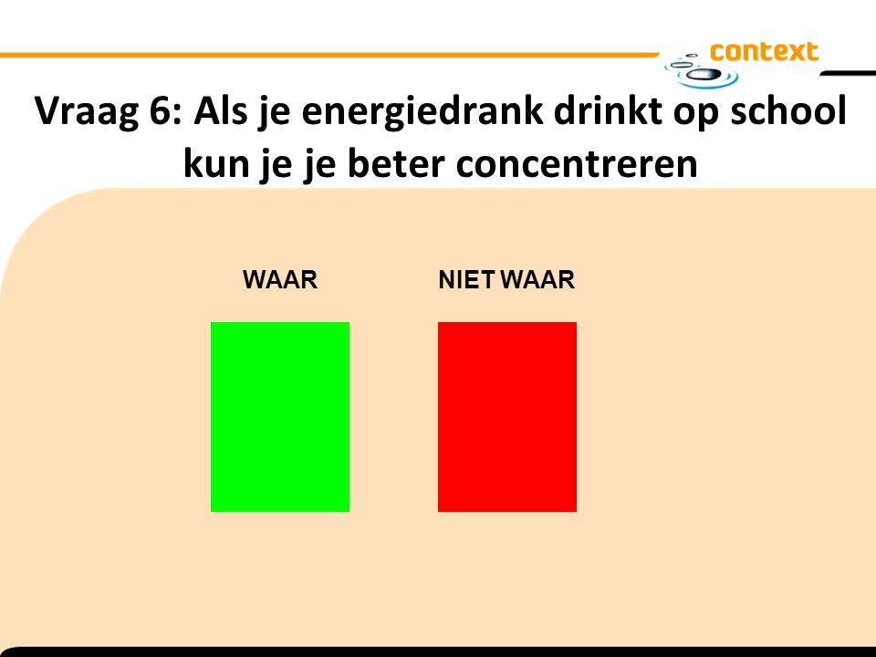 Vraag 6: Als je energiedrank drinkt op school kun je je beter concentreren WAAR NIET WAAR