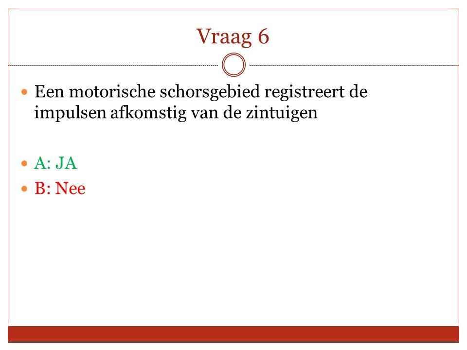 Vraag 6 Een motorische schorsgebied registreert de impulsen afkomstig van de zintuigen A: JA B: Nee