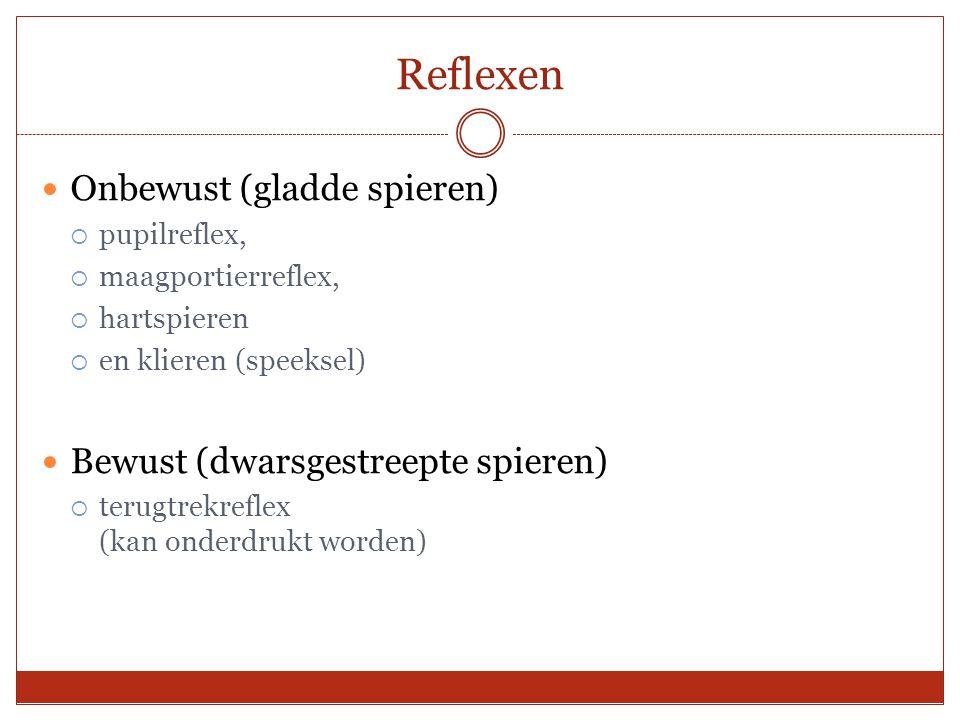 Reflexen Onbewust (gladde spieren)  pupilreflex,  maagportierreflex,  hartspieren  en klieren (speeksel) Bewust (dwarsgestreepte spieren)  terugt