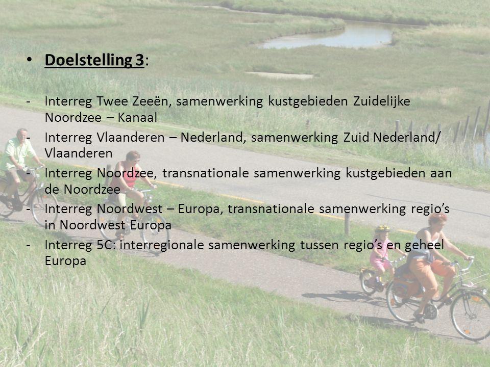 Doelstelling 3: -Interreg Twee Zeeën, samenwerking kustgebieden Zuidelijke Noordzee – Kanaal -Interreg Vlaanderen – Nederland, samenwerking Zuid Nederland/ Vlaanderen -Interreg Noordzee, transnationale samenwerking kustgebieden aan de Noordzee -Interreg Noordwest – Europa, transnationale samenwerking regio's in Noordwest Europa -Interreg 5C: interregionale samenwerking tussen regio's en geheel Europa