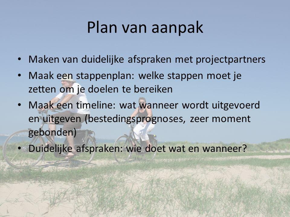 Plan van aanpak Maken van duidelijke afspraken met projectpartners Maak een stappenplan: welke stappen moet je zetten om je doelen te bereiken Maak ee